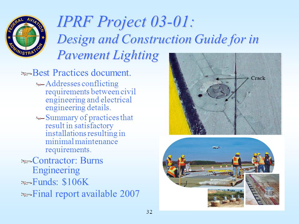 32 IPRF Project 03-01: Design and Construction Guide for in Pavement Lighting Best Practices document.