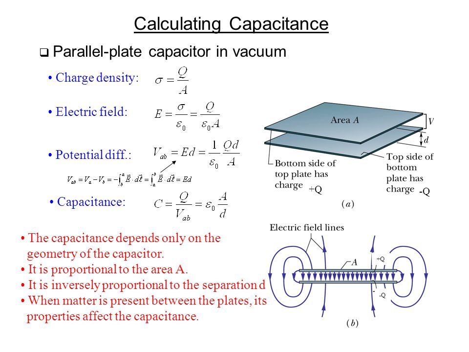 Calculating Capacitance  Parallel-plate capacitor in vacuum Charge density: Electric field: Potential diff.: Capacitance: The capacitance depends onl