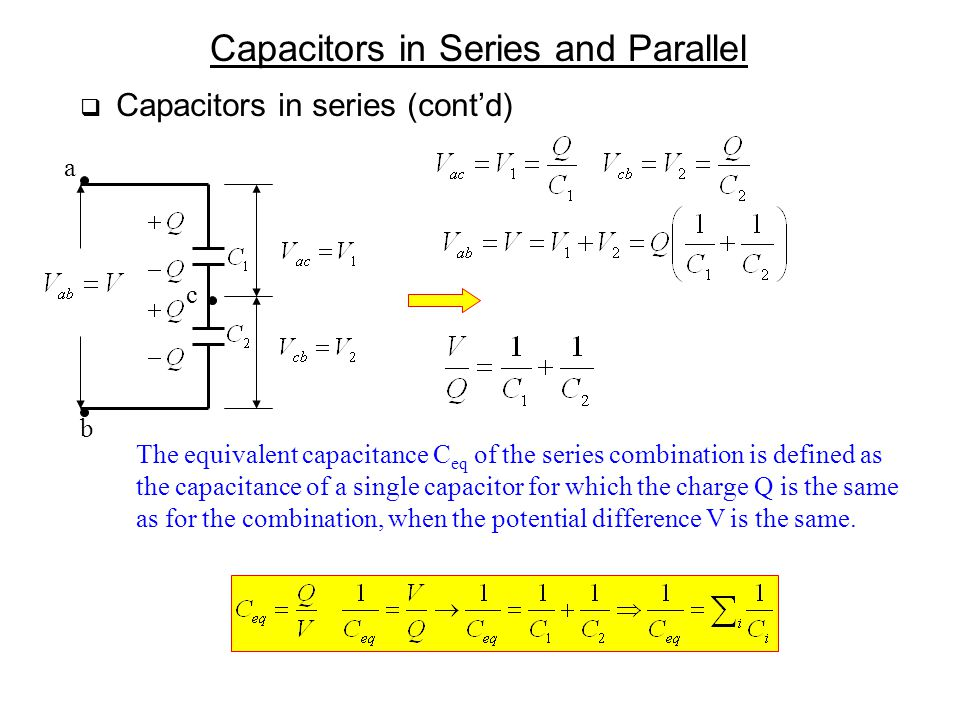 Capacitors in Series and Parallel  Capacitors in series (cont'd) a b c The equivalent capacitance C eq of the series combination is defined as the ca
