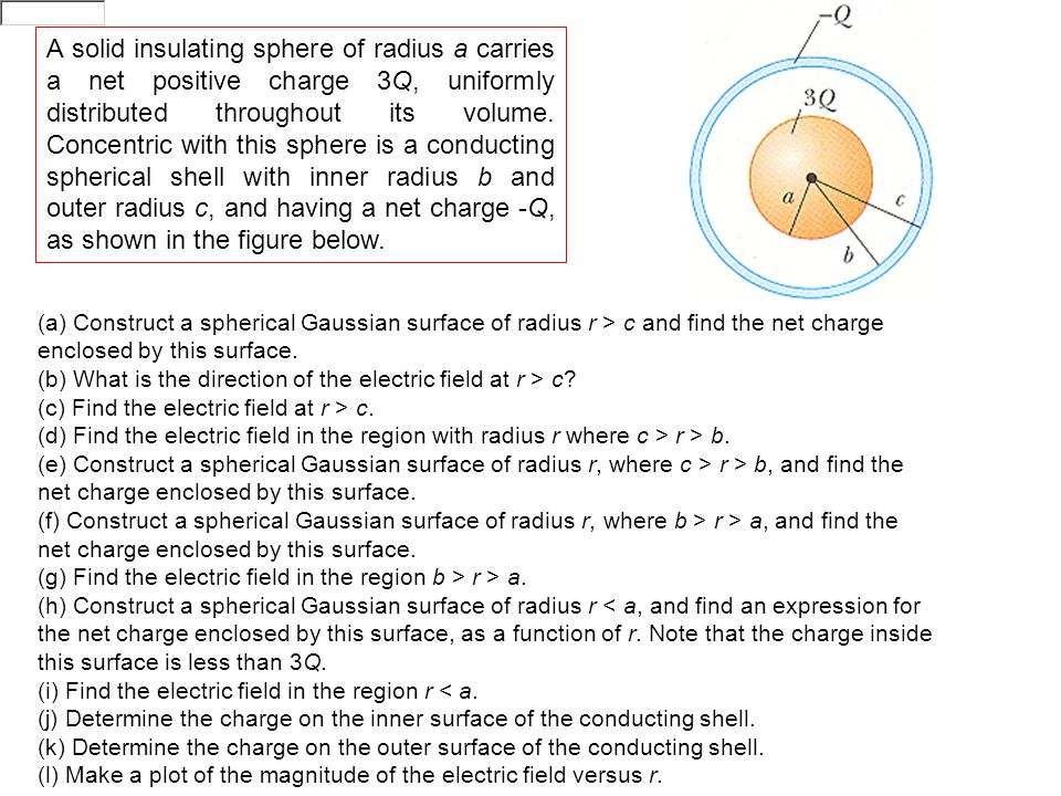 A solid insulating sphere of radius a carries a net positive charge 3Q, uniformly distributed throughout its volume.