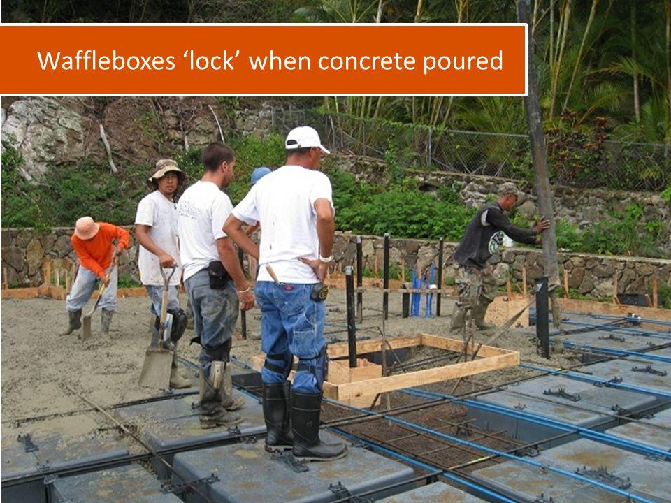 Waffleboxes 'lock' when concrete poured