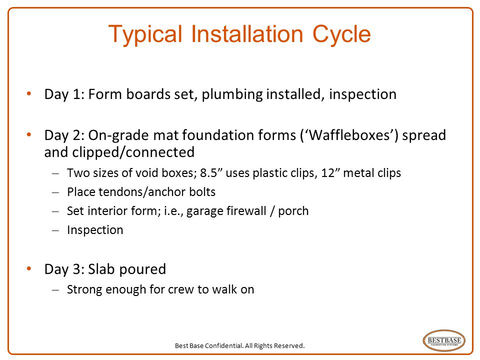 Best Base Confidential. All Rights Reserved. 8 Typical Installation Cycle Day 1: Form boards set, plumbing installed, inspection Day 2: On-grade mat f