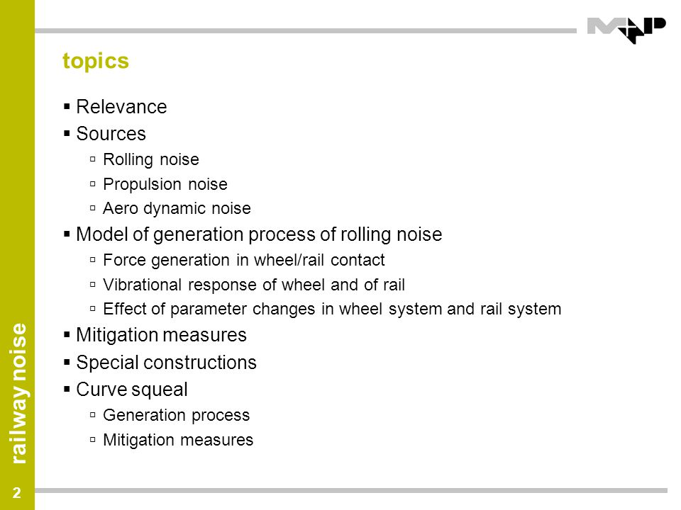 railway noise 43 Results Metarail Project Influence on Noise