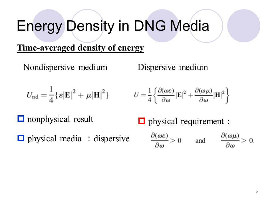 5 Energy Density in DNG Media Nondispersive mediumDispersive medium  nonphysical result  physical media : dispersive Time-averaged density of energy  physical requirement :