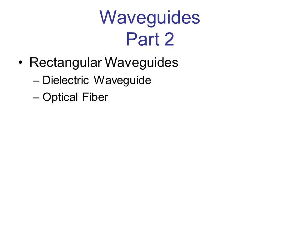 Dielectric Waveguide Let us consider the simpler case of a rectangular slab of waveguide.