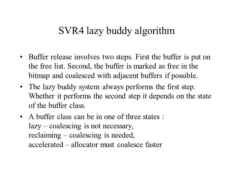 SVR4 lazy buddy algorithm Buffer release involves two steps.