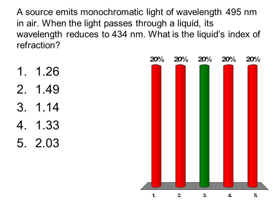 A source emits monochromatic light of wavelength 495 nm in air. When the light passes through a liquid, its wavelength reduces to 434 nm. What is the