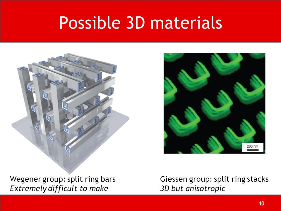 40 Possible 3D materials Wegener group: split ring bars Extremely difficult to make Giessen group: split ring stacks 3D but anisotropic