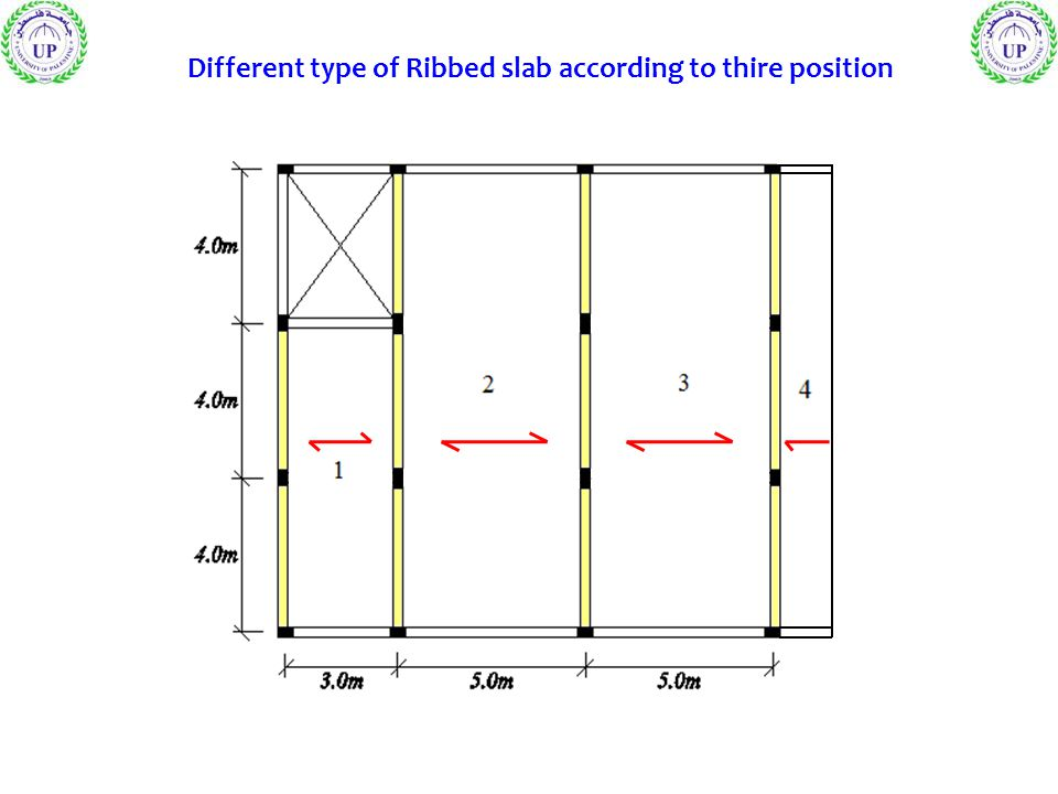Different type of Ribbed slab according to thire position