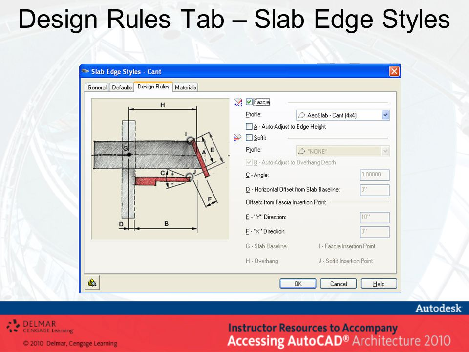 Design Rules Tab – Slab Edge Styles