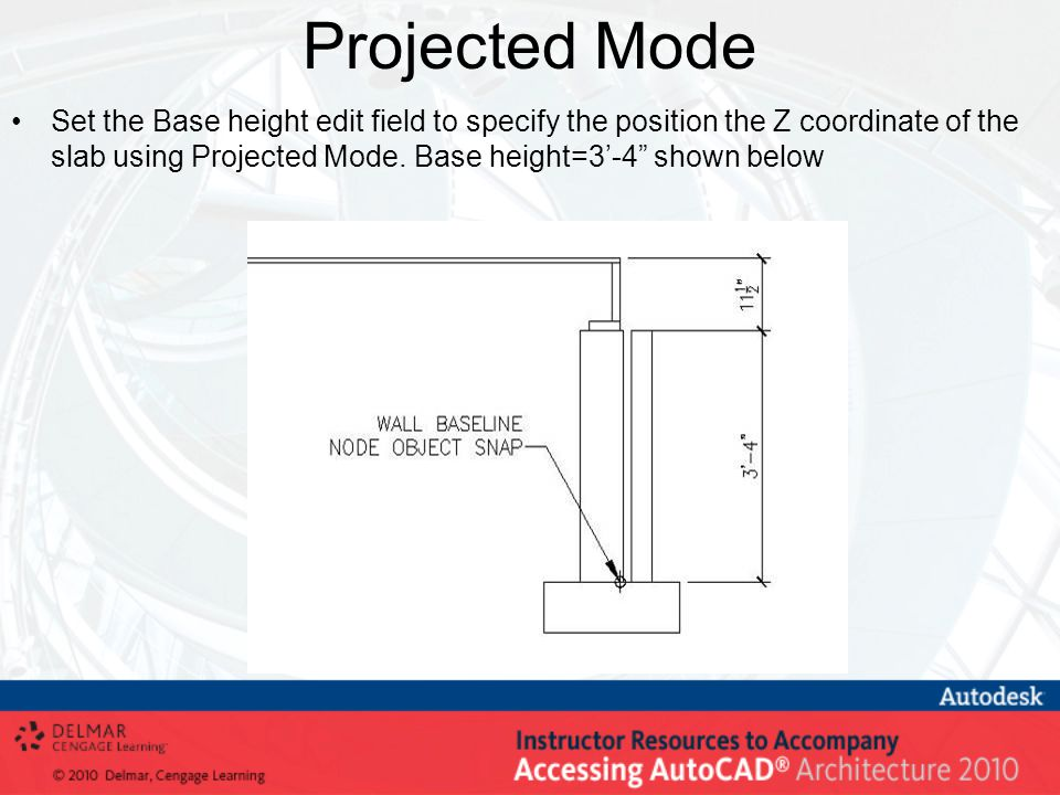 "Projected Mode Set the Base height edit field to specify the position the Z coordinate of the slab using Projected Mode. Base height=3'-4"" shown below"