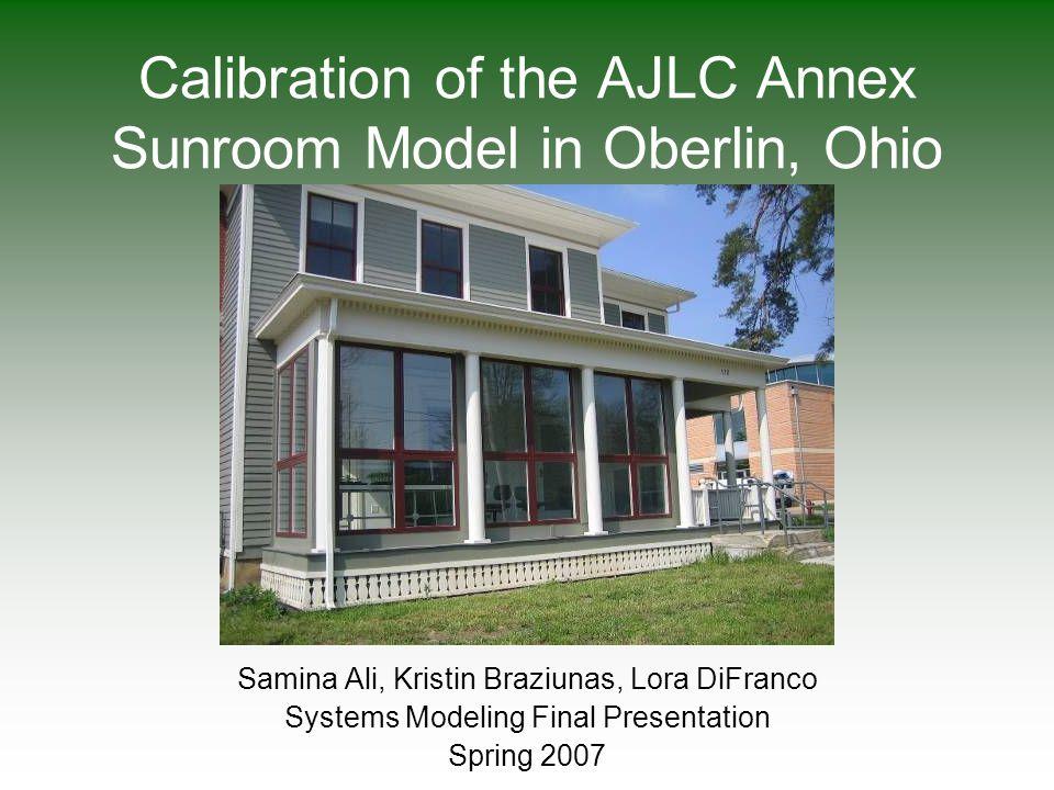 Calibration of the AJLC Annex Sunroom Model in Oberlin, Ohio Samina Ali, Kristin Braziunas, Lora DiFranco Systems Modeling Final Presentation Spring 2007