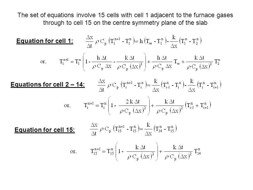 The set of equations involve 15 cells with cell 1 adjacent to the furnace gases through to cell 15 on the centre symmetry plane of the slab Equation for cell 1: Equations for cell 2 – 14: Equation for cell 15: