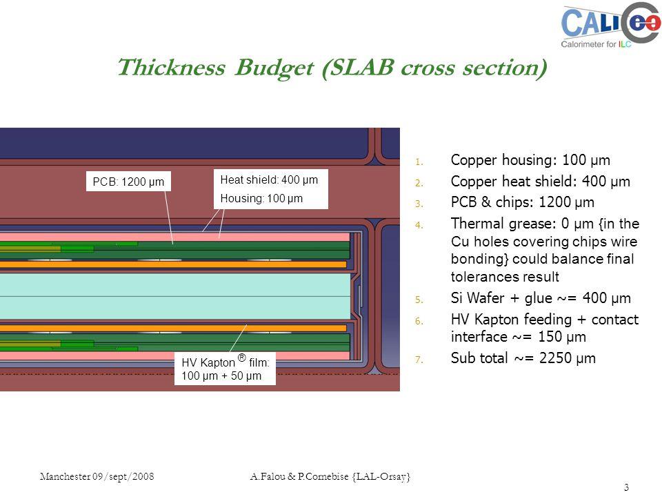 Manchester 09/sept/2008 A.Falou & P.Cornebise {LAL-Orsay} 3 1. Copper housing: 100 µm 2. Copper heat shield: 400 µm 3. PCB & chips: 1200 µm 4. Thermal