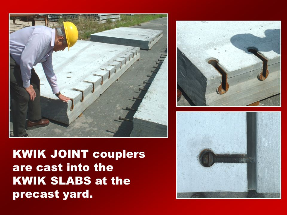 KWIK JOINT couplers are cast into the KWIK SLABS at the precast yard.