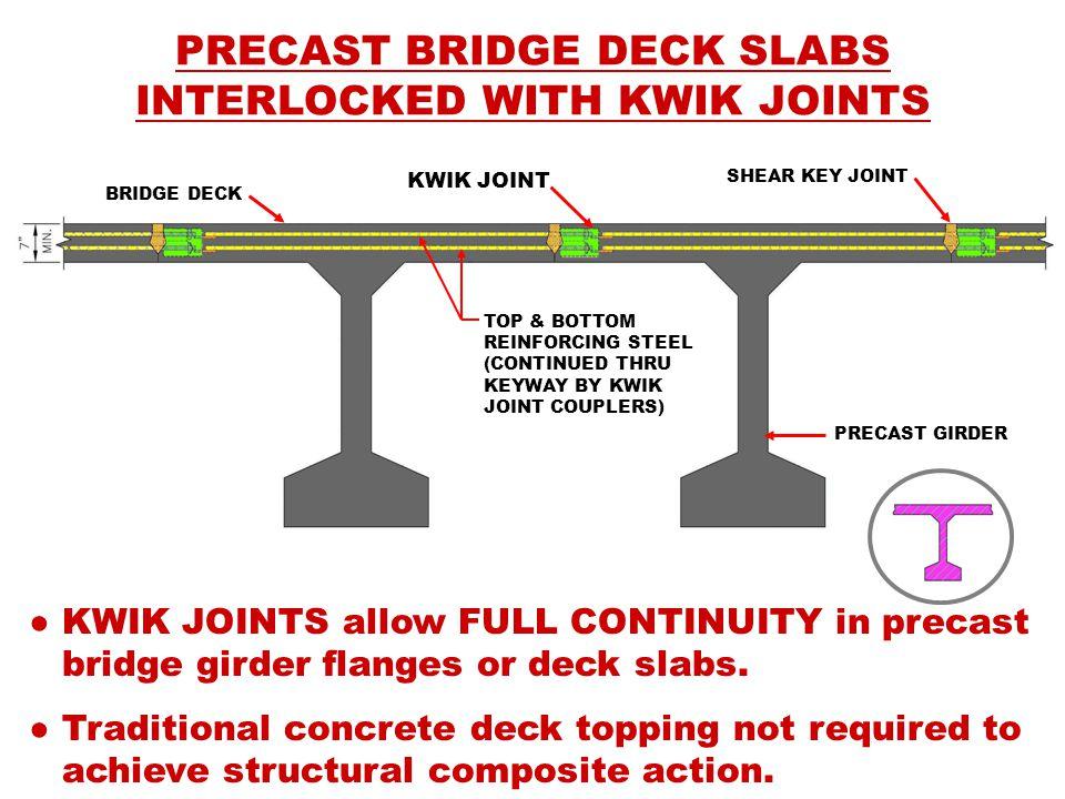 ● KWIK JOINTS allow FULL CONTINUITY in precast bridge girder flanges or deck slabs.