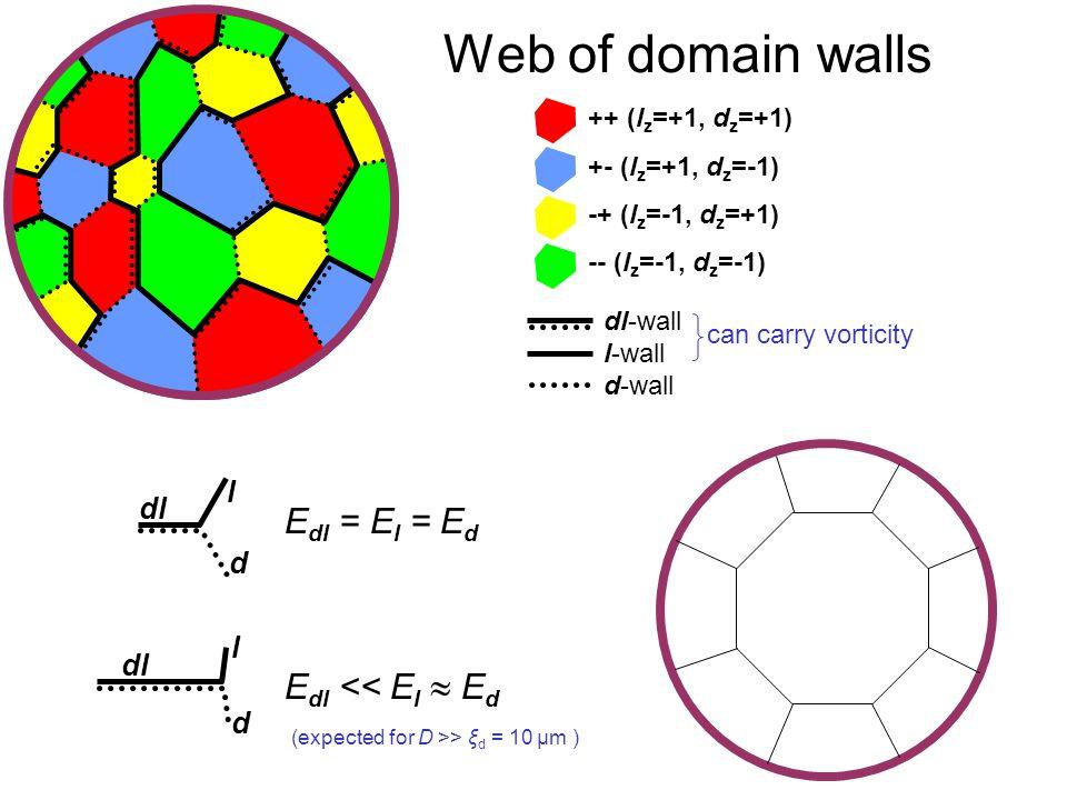 Quantum Phenomena at Low Temperatures, Lammi, 10 January 2004 Web of domain walls dl-wall l-wall d-wall can carry vorticity ++ (l z =+1, d z =+1) +- (l z =+1, d z =-1) -+ (l z =-1, d z =+1) -- (l z =-1, d z =-1) E dl = E l = E d E dl << E l  E d (expected for D >> ξ d = 10 μm ) dl d l l d