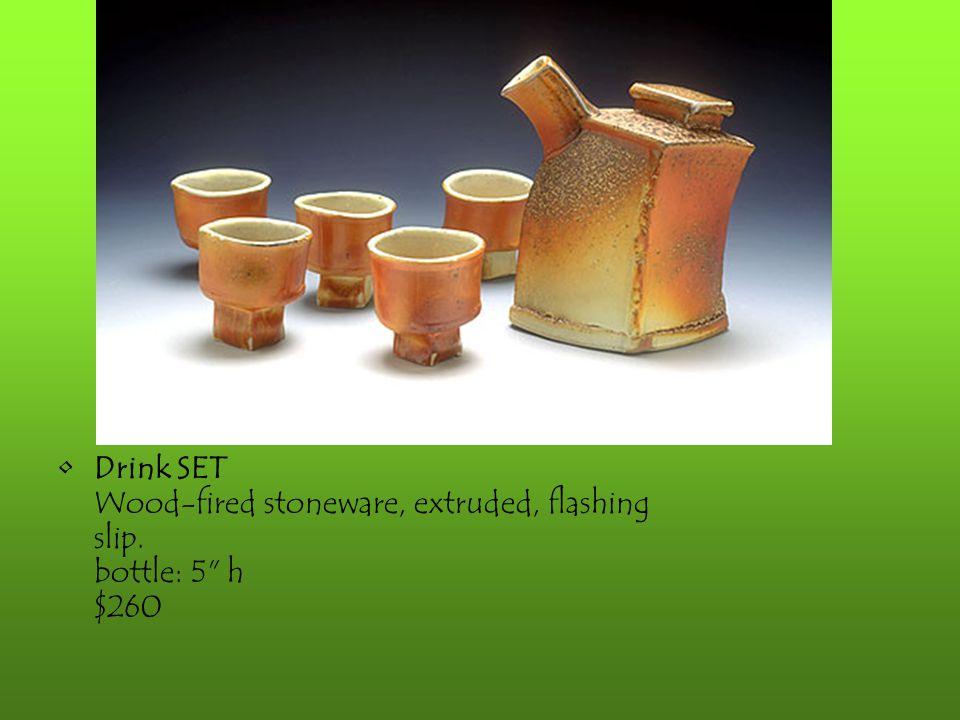 Drink SET Wood-fired stoneware, extruded, flashing slip. bottle: 5