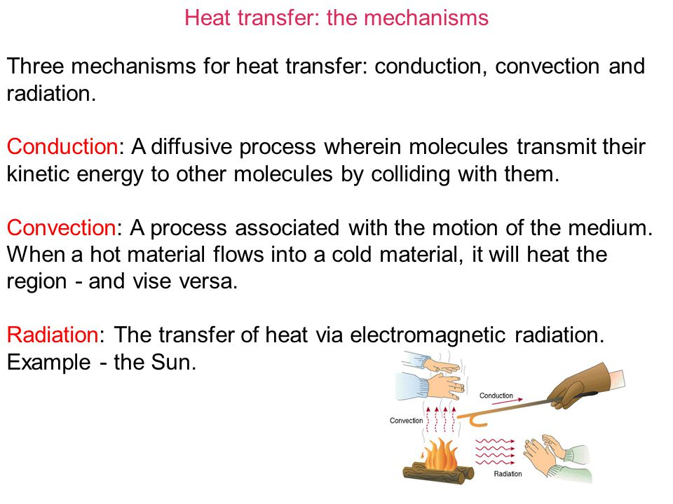 Heat transfer: the mechanisms In the Earth, both conduction and convection are important.