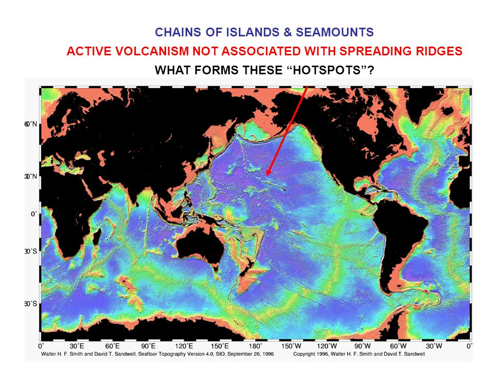 CHAINS OF ISLANDS & SEAMOUNTS ACTIVE VOLCANISM NOT ASSOCIATED WITH SPREADING RIDGES WHAT FORMS THESE HOTSPOTS ?