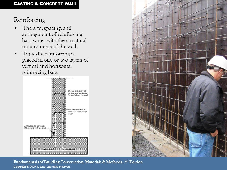 Fundamentals of Building Construction, Materials & Methods, 5 th Edition Copyright © 2009 J. Iano. All rights reserved. Reinforcing The size, spacing,