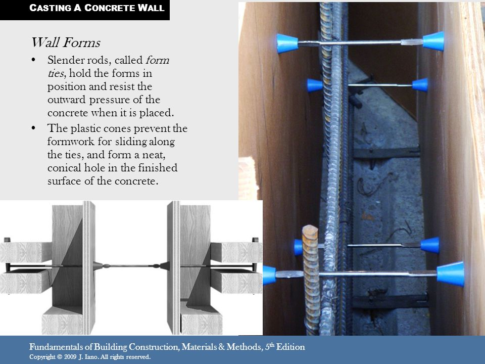 Fundamentals of Building Construction, Materials & Methods, 5 th Edition Copyright © 2009 J. Iano. All rights reserved. Wall Forms Slender rods, calle
