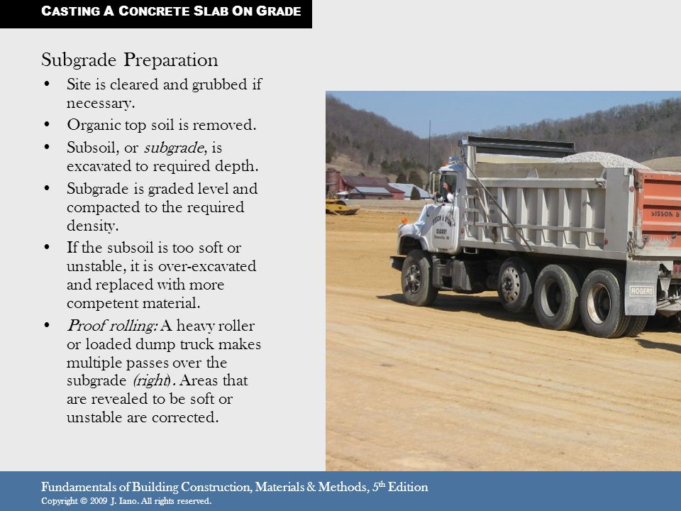 Fundamentals of Building Construction, Materials & Methods, 5 th Edition Copyright © 2009 J. Iano. All rights reserved. Subgrade Preparation Site is c