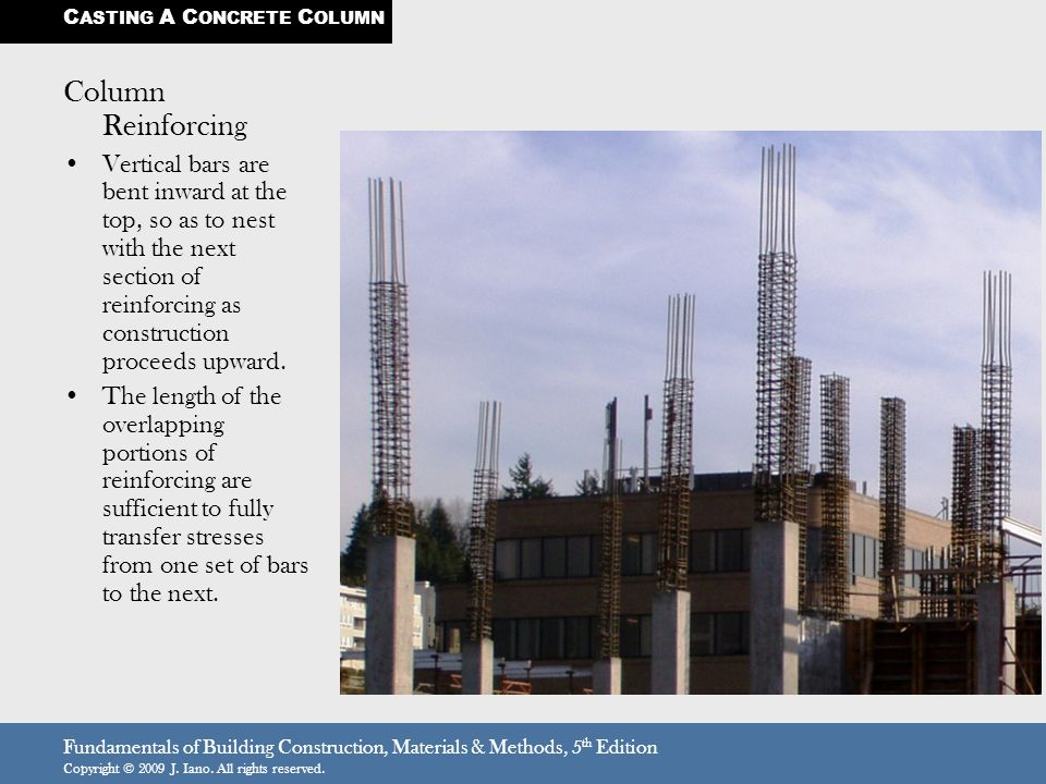 Fundamentals of Building Construction, Materials & Methods, 5 th Edition Copyright © 2009 J. Iano. All rights reserved. Column Reinforcing Vertical ba