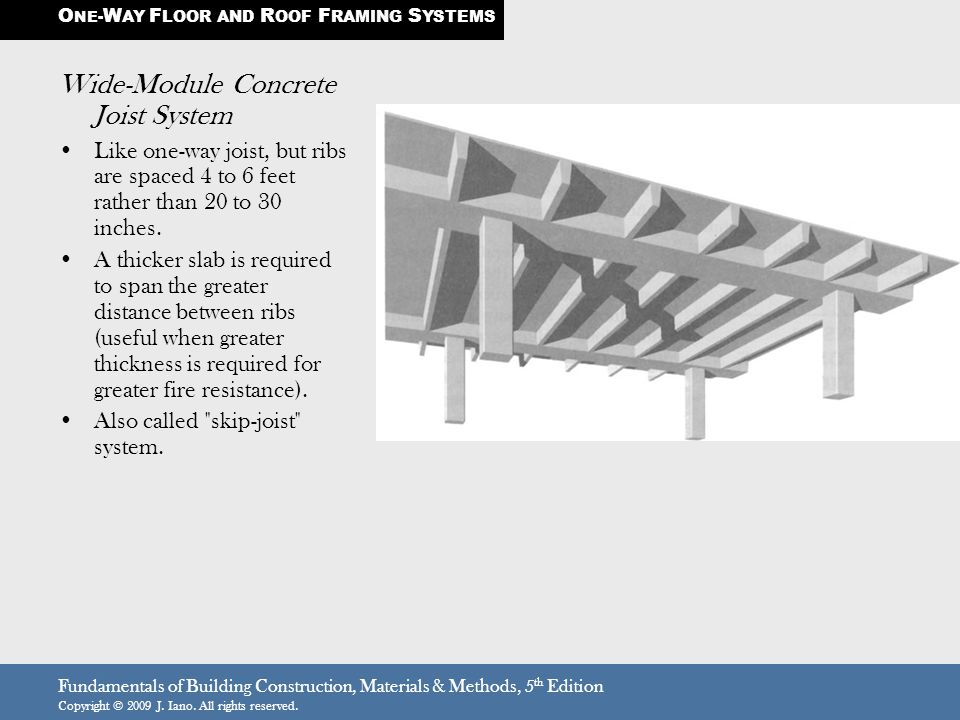 Fundamentals of Building Construction, Materials & Methods, 5 th Edition Copyright © 2009 J. Iano. All rights reserved. Wide-Module Concrete Joist Sys