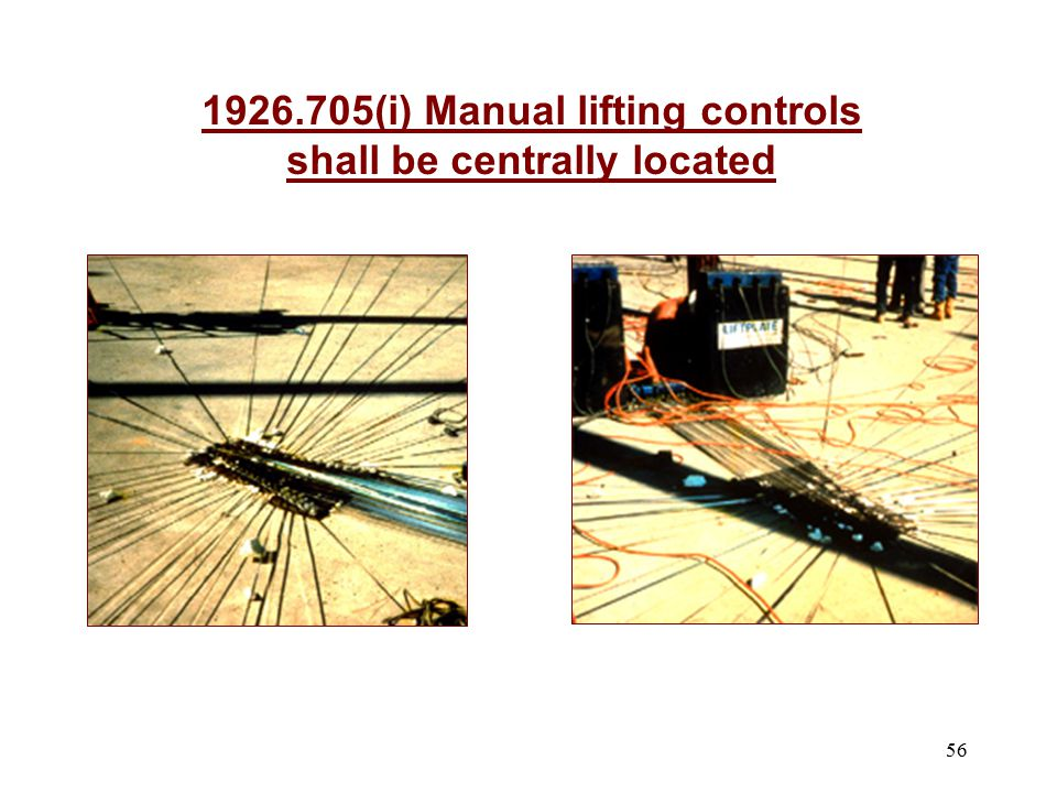 56 1926.705(i) Manual lifting controls shall be centrally located