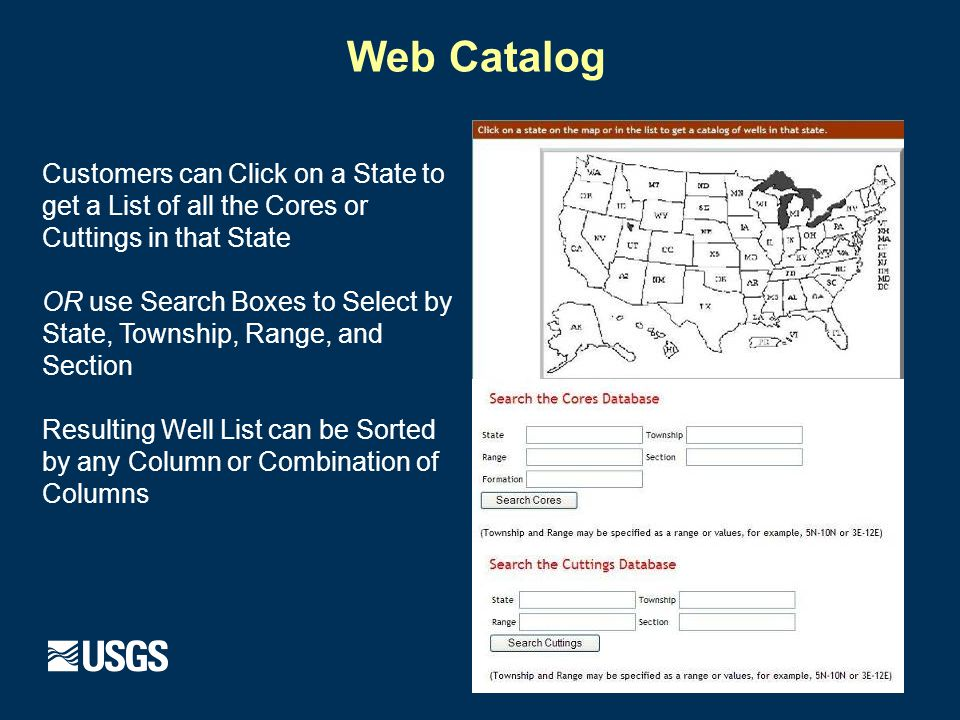 Web Catalog Customers can Click on a State to get a List of all the Cores or Cuttings in that State OR use Search Boxes to Select by State, Township, Range, and Section Resulting Well List can be Sorted by any Column or Combination of Columns