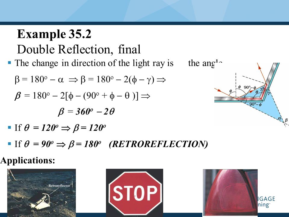 Quick Quiz 35.2 Following the Reflected and Refracted Rays Ray  is the incident ray Ray  is the reflected ray Ray  is refracted into the Lucite block Ray  is internally reflected in the block Ray  is refracted as it enters the air from the block