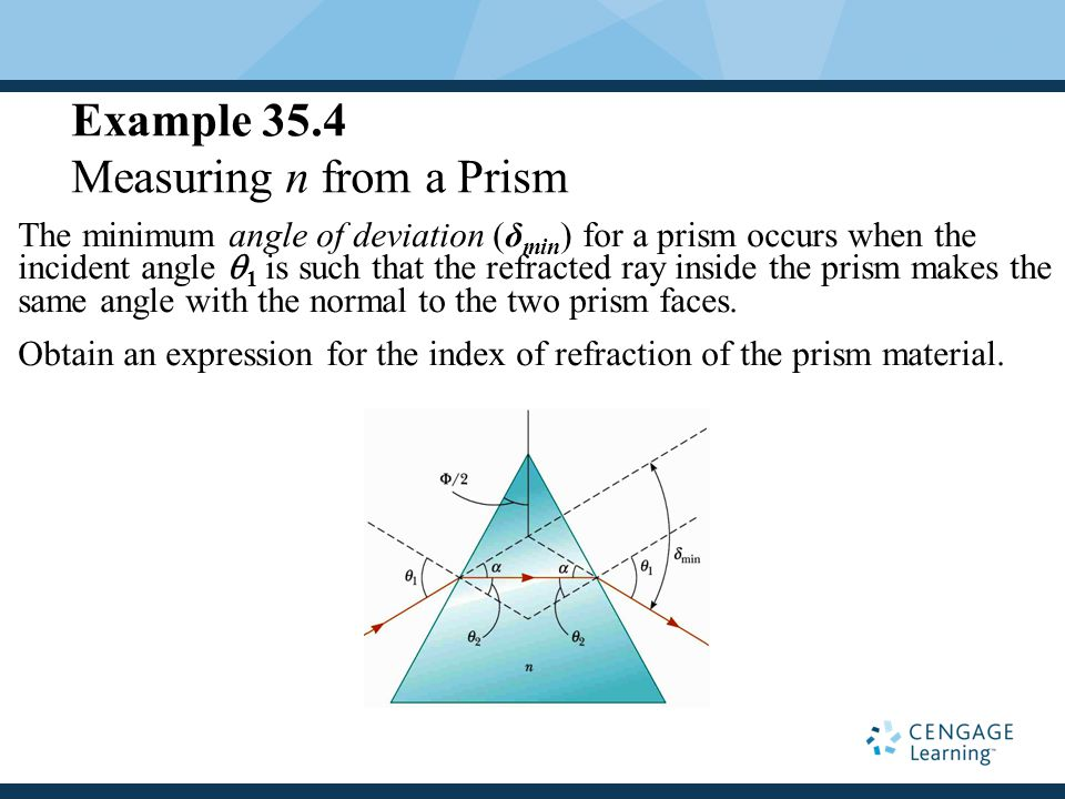 Example 35.4 Measuring n from a Prism The minimum angle of deviation (δ min ) for a prism occurs when the incident angle  1 is such that the refracted ray inside the prism makes the same angle with the normal to the two prism faces.