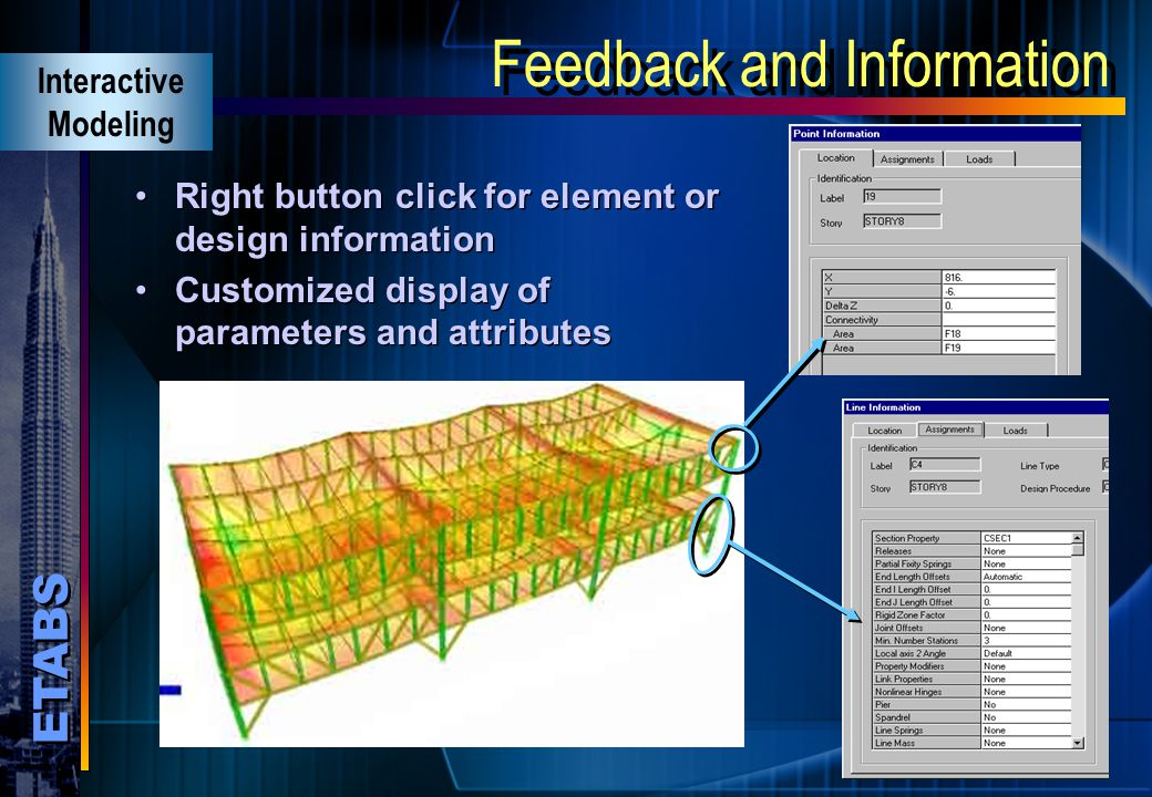 ETABS Powerful Section Designer Graphical Section Designer for defining custom sections Interactive Modeling