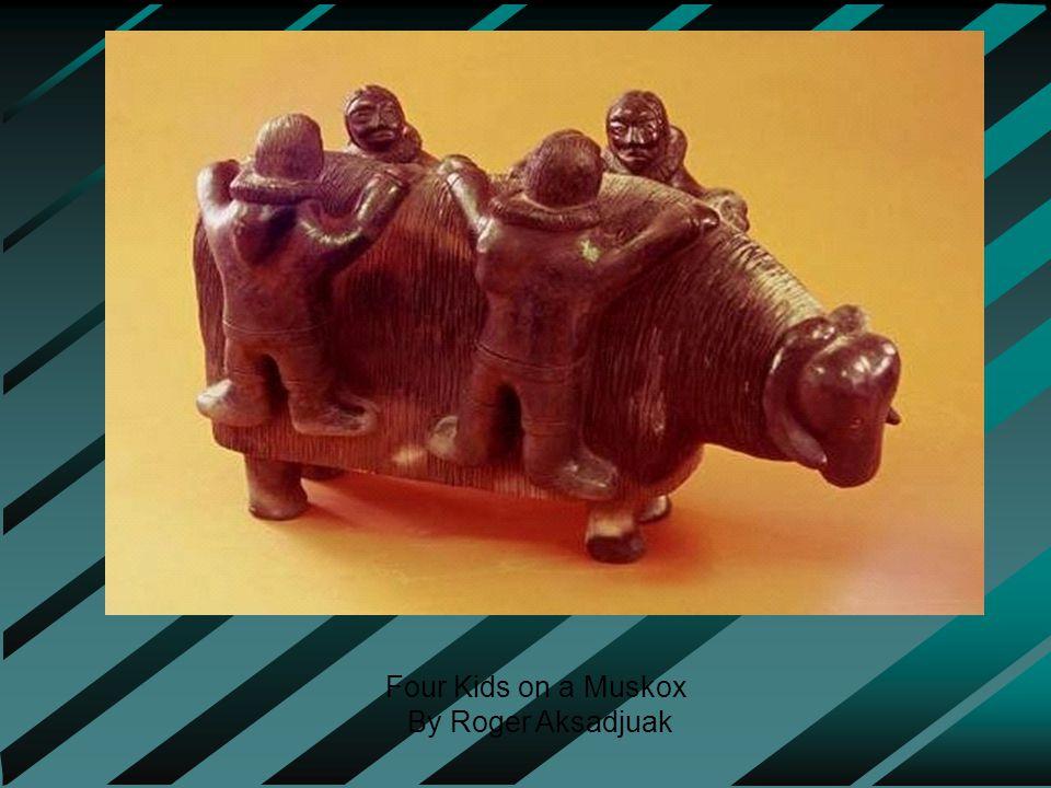 Four Kids on a Muskox By Roger Aksadjuak