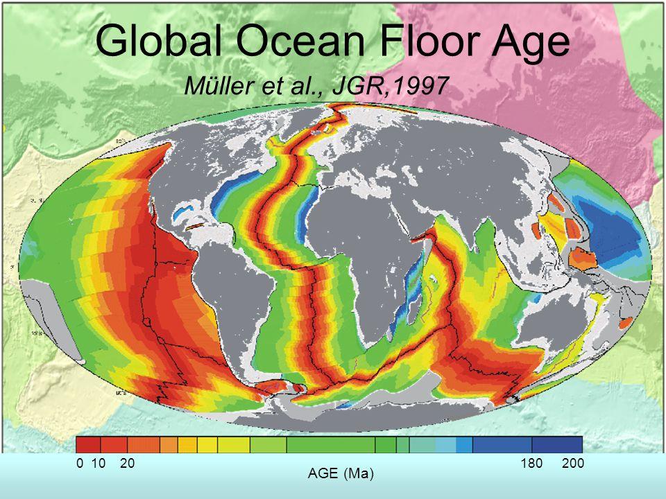 Global Ocean Floor Age AGE (Ma) 1020180200 0 Müller et al., JGR,1997