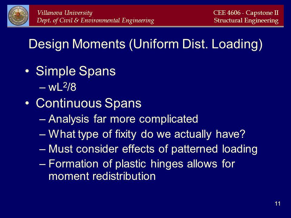 Villanova University Dept. of Civil & Environmental Engineering CEE 4606 - Capstone II Structural Engineering 11 Design Moments (Uniform Dist. Loading