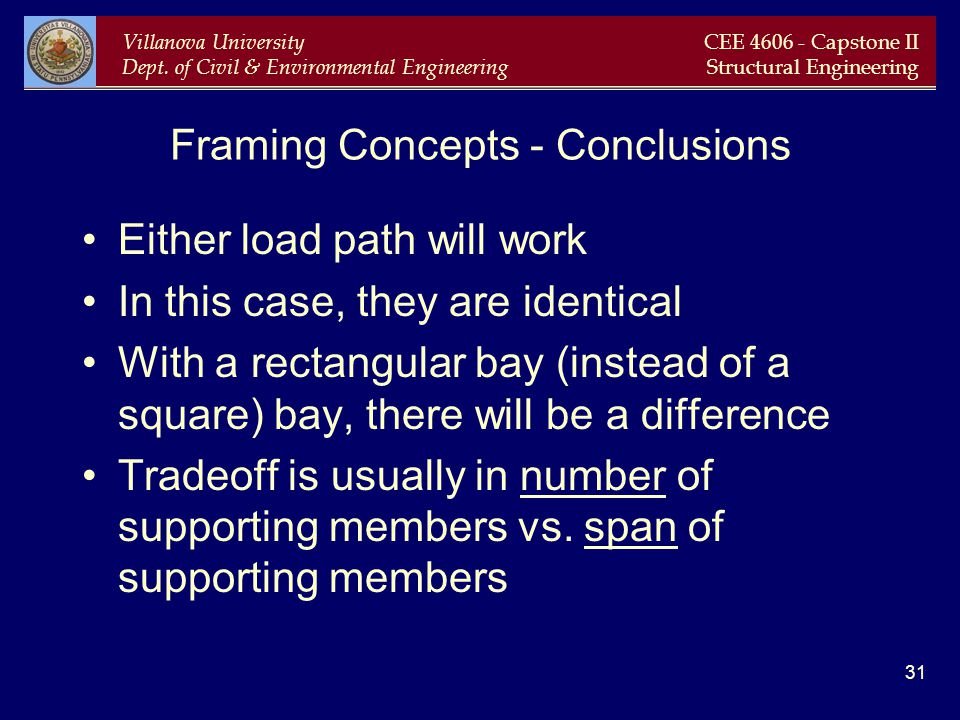 Villanova University Dept. of Civil & Environmental Engineering CEE 4606 - Capstone II Structural Engineering 31 Framing Concepts - Conclusions Either