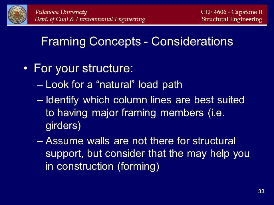 Villanova University Dept. of Civil & Environmental Engineering CEE 4606 - Capstone II Structural Engineering 33 Framing Concepts - Considerations For