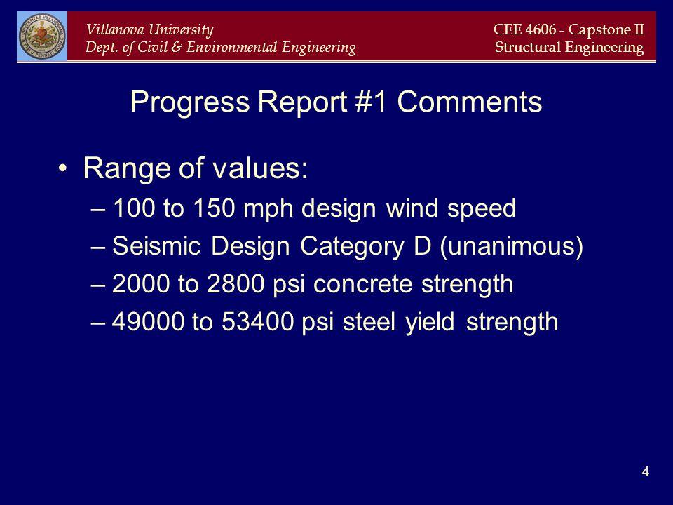 Villanova University Dept. of Civil & Environmental Engineering CEE 4606 - Capstone II Structural Engineering 4 Progress Report #1 Comments Range of v