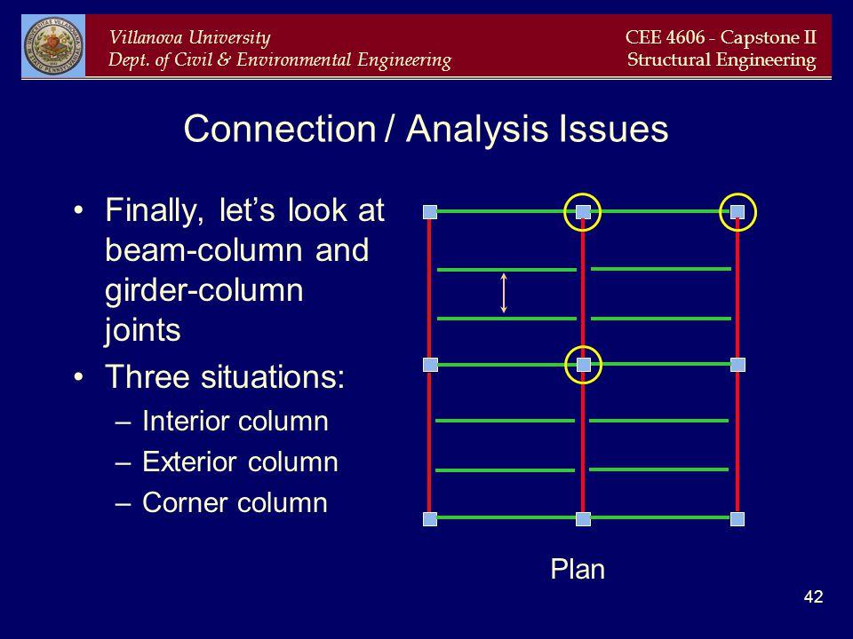 Villanova University Dept. of Civil & Environmental Engineering CEE 4606 - Capstone II Structural Engineering 42 Connection / Analysis Issues Finally,