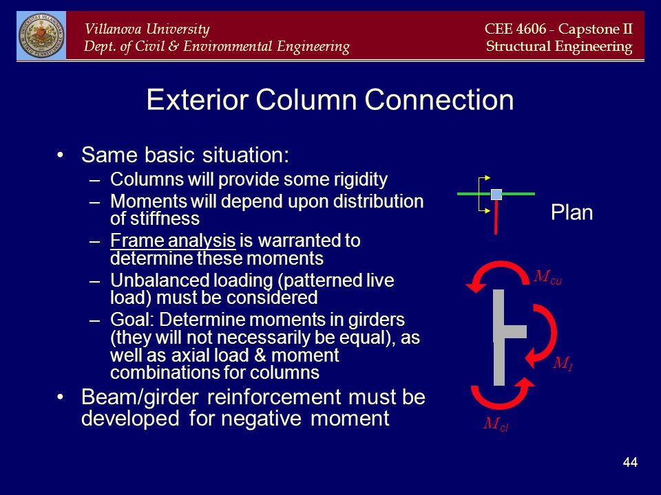 Villanova University Dept. of Civil & Environmental Engineering CEE 4606 - Capstone II Structural Engineering 44 Exterior Column Connection Same basic