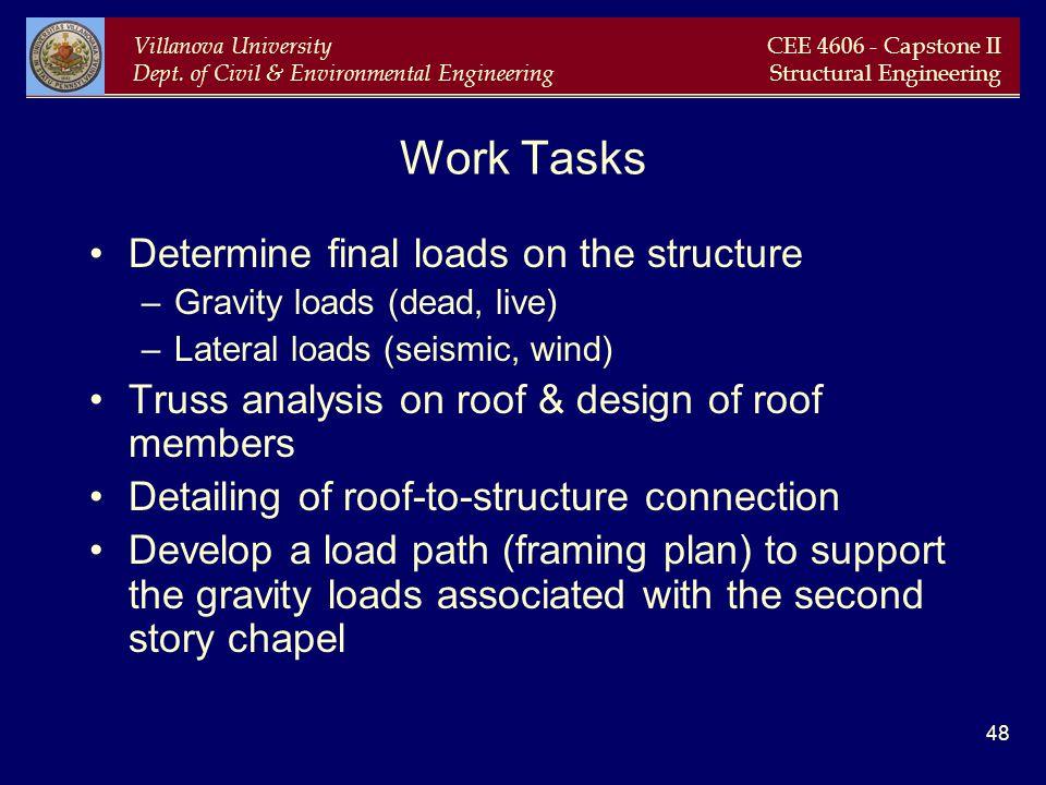 Villanova University Dept. of Civil & Environmental Engineering CEE 4606 - Capstone II Structural Engineering 48 Work Tasks Determine final loads on t