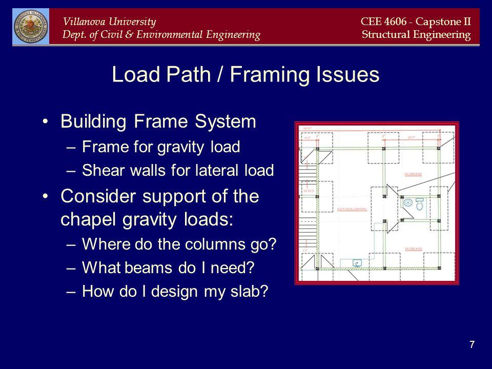 Villanova University Dept. of Civil & Environmental Engineering CEE 4606 - Capstone II Structural Engineering 7 Load Path / Framing Issues Building Fr