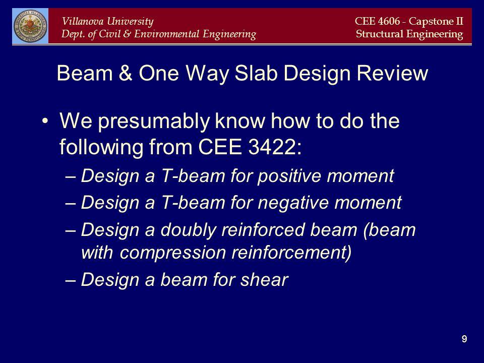 Villanova University Dept. of Civil & Environmental Engineering CEE 4606 - Capstone II Structural Engineering 9 Beam & One Way Slab Design Review We p