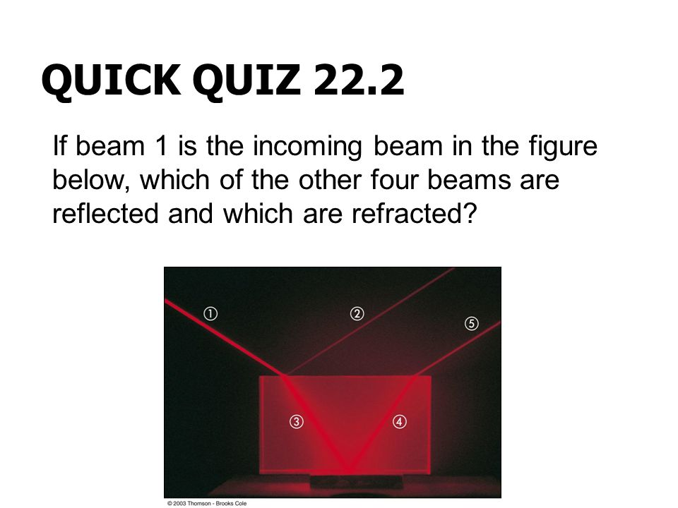 QUICK QUIZ 22.2 If beam 1 is the incoming beam in the figure below, which of the other four beams are reflected and which are refracted?