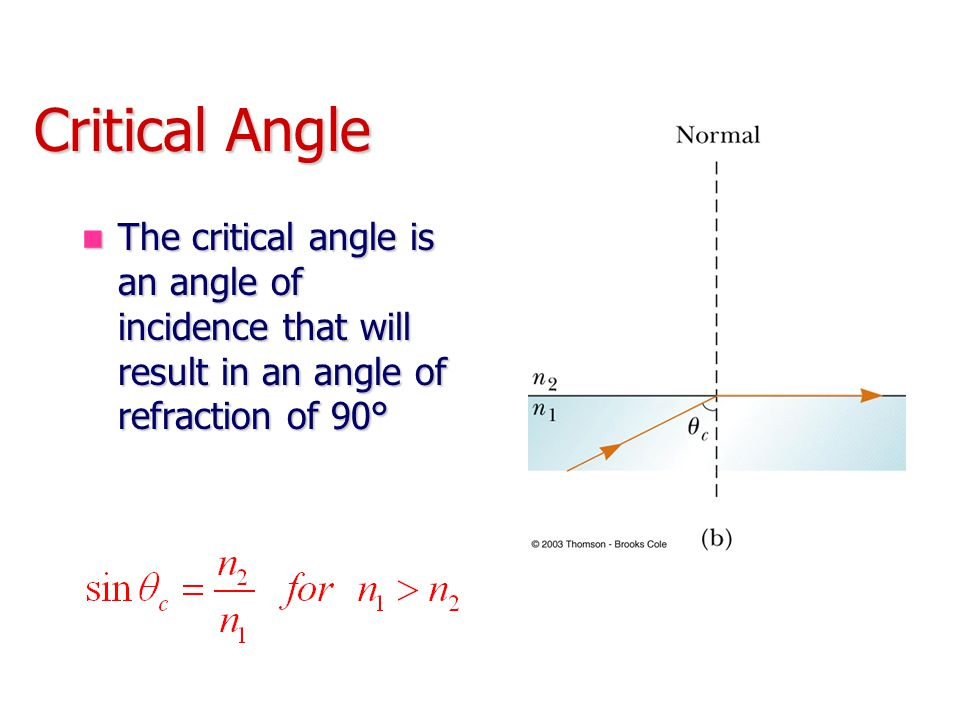 Critical Angle The critical angle is an angle of incidence that will result in an angle of refraction of 90° The critical angle is an angle of inciden