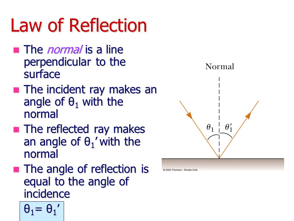 Law of Reflection The normal is a line perpendicular to the surface The normal is a line perpendicular to the surface The incident ray makes an angle