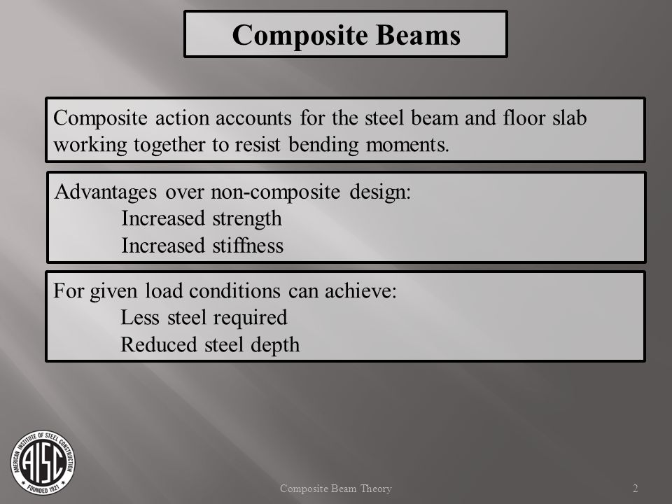 Composite action accounts for the steel beam and floor slab working together to resist bending moments. Advantages over non-composite design: Increase