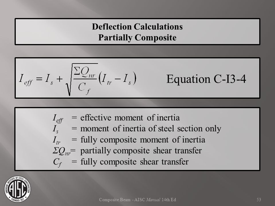 Composite Beam - AISC Manual 14th Ed Deflection Calculations Partially Composite Equation C-I3-4 I eff = effective moment of inertia I s =moment of in